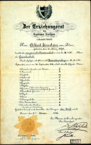 Photo historique rare : Un bulletin scolaire d'Albert Einstein